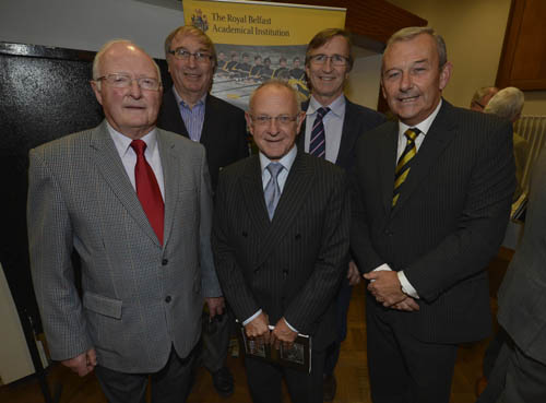 Former British and Irish Lions - David Hewitt, Ronnie Lamont, Colin Patterson, David Irwin pictured with Mr David Haslett